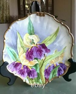 RARE Antique Limoges France Flambeau Hand Painted Iris Artist Signed Engre Plate