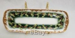 RARE Antique T&V Limoges France Holly Berries Set of 3 Hand painted Platter Pot