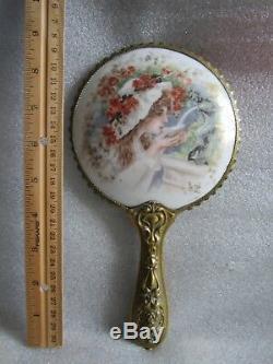RARE Gorgeous Antique 1890 Art Nouveau Limoges Hand Painted Porcelain Mirror