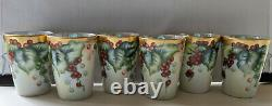 Rare Antique Jpl France Hand Painted Dragon Handle Pitcher & 6 Matching Glasses