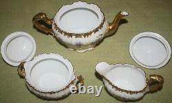 Rare Antique LIMOGES FLAMBEAU Hand Painted Tea Pot, Sugar Bowl, & Creamer