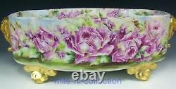 Rare Limoges Handpainted Violet Rose Elephant Heads 18 Jardinière Artist Kunert