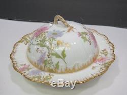 Rare M. Redon Limoges Porcelain France Hand Painted Coverd Cheese Keeper Dish
