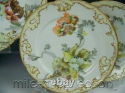 Rare Set Limoges Pairpoint Hand Painted Poppies Ice Cream 1 Tray 4 Plates