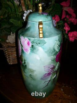 Rare and Unusual, Superbly Hand Painted Limoges Roses Covered Urn/Vase