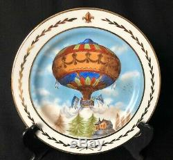 Rare set of 12 antique Limoges hand painted hot air balloon plates 10.25 signed