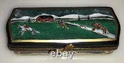 Rochard Limoges France Hand Painted Horse & Farm Equestrian Dressage Rare Box