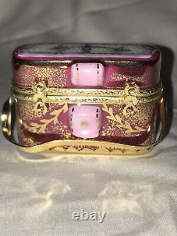 Rochard Limoges France Hand Painted Pink Binoculars and Case Trinket Box