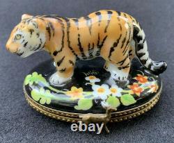 Rochard Limoges France Regal Colorful Tiger Trinket Box Hand Painted