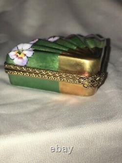 Rochard Limoges Hand Painted Porcelain Fan Shaped trinket box with cologne
