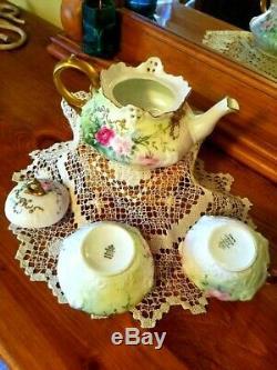 Rosenthal Bavaria Hand Painted Jeweled Rose Tea Pot/Creamer/Sugar Bowl Set