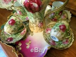 Royal Austria Hand Painted Rose Chocolate Coffee Pot /4 Cup/4 Saucer/ Set, Artist