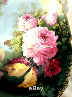 STUNNING LARGE Jean Pouyat Limoges Hand Painted Artist Signed Platter