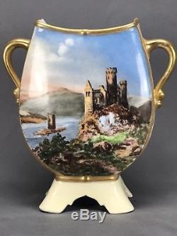 STUNNING Redon Limoges Hand Painted Castle Scene Vase