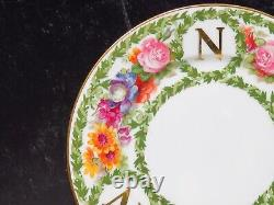 Set 11 Antique Limoges France Floral Monogrammed N Plates 8.5 Hand Painted WOW