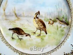 Set 5 Antique Haviland Limoges Artist Signed Hand Painted Game Bird Plates