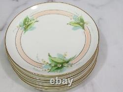 Set 6 Havilland Limoges France Hand Painted Stouffer Lily of the Valley Plates