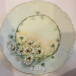 Set Of 6 Antique JP Limoges Botanical Plates Hand-Painted Flowers Artist Signed