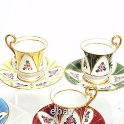 Set Of Seven (7) Limoges France Hand Painted DC Demitasse Cups & Saucers