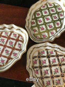 Set of 4 Antique 19C Porcelain De Paris Limoges French Hand Painted Candy Dish