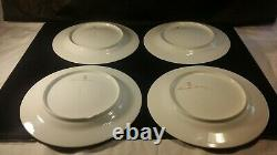 Set of 4 Limoges Plates Hand Painted Signed Flower Orchid Green 10 ½ Exquisite