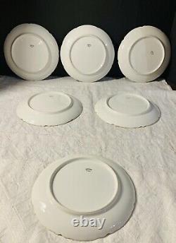 Set of 6 Art Nouveau Hand Painted Haviland Limoges 7.5 Luncheon Plates Roses