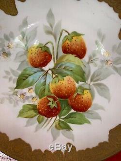 Set of 6 LIMOGES France SENA signed S M Plates FRUIT Flowers Gold Handpainted