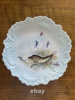 Set of 7 Antique William Guerin Limoges FRANCE Hand Painted Fish Plates C. 1900