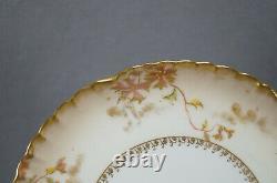 Set of 8 GDM Limoges Hand Painted Raised Gold Floral Multicolor Dessert Plates
