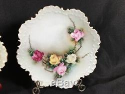 Set of 9 Rosenthal Bavaria Hand Painted Floral Plates McCormick Scalloped 6-3/4