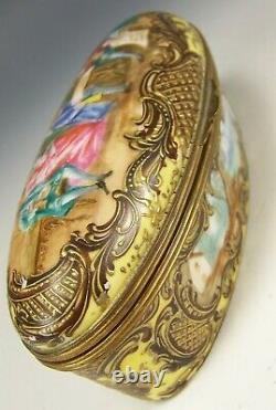 Sevres France Porcelain Hand Painted Raised Gold Oval Box Artist Signed