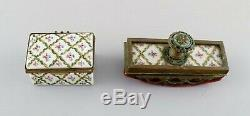 Sevres / Limoges style. Desk garniture in hand-painted porcelain and brass