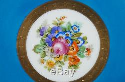 Sevres Style Hand Painted Floral Blue Raised Gold & Neoclassical Figures Plate B