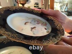 Six (6) Porcelain Limoges, France 9 Hand Painted Fish Plates Artist, B. Albert