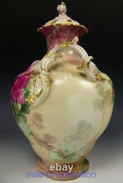 Stunning Rare Limoges France Hand Painted Roses Potpourri Jar
