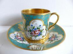 Superb French Limoges Handpainted Gilded Porcelain Cup & Saucer Artist Signed #4