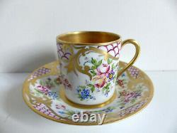 Superb French Limoges Handpainted Gilded Porcelain Cup & Saucer Artist Signed #5