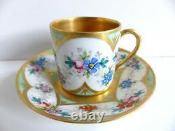 Superb French Limoges Handpainted Gilded Porcelain Cup & Saucer Artist Signed #6