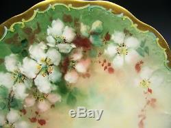 Superb Limoges Hand Painted Roses Pudding Set Charger & Bowl Artist Signed