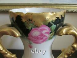 TV Limoges France Hand Painted Handled Vase Roses Green Gold 7