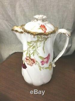 TV Limoges Hand Painted 10 Chocolate Pot withLid Flowers/Gold Trim