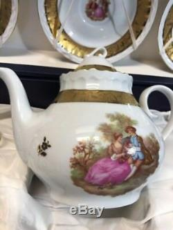 T. Limoges VIZAVI Courting Couple Coffee Set 17 Pieces Hand Painted Pink & Gold