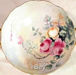 T&V LIMOGES Hand Painted Signed Heavy Gold HANDLED PEDESTAL13 BOWL-FABULOUS