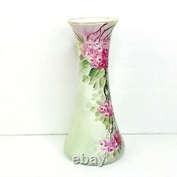 T&V Limoges France Antique Vase Hand Painted Floral Flowers Artist Signed