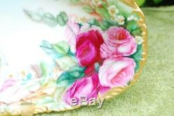 T&V Limoges France Hand Painted Large Oval Dish/ Bowl with Roses