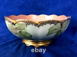 T&V Limoges France Hand Painted Large Scalloped Centerpiece Bowl Berries