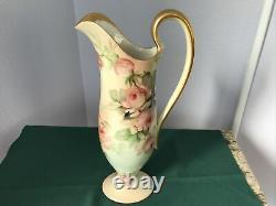 T&V Limoges Hand Painted EWER / PITCHER Pink Roses Signed E. MILER Exquisite 12
