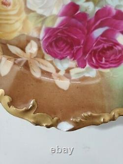 T&V Limoges Hand Painted Shallow Plate/ Bowl, Roses, GOLD TRIM-Signed