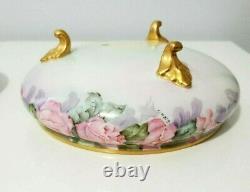 T&V Porcelain Limoges Hand Painted Pink Roses Large Footed Trinket Box 8