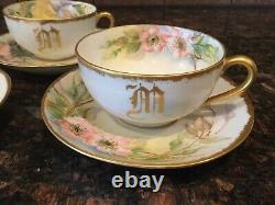 T V RS Silesia LimogesHand PaintedLoop Handle PlatesSaucersTea CupsTray